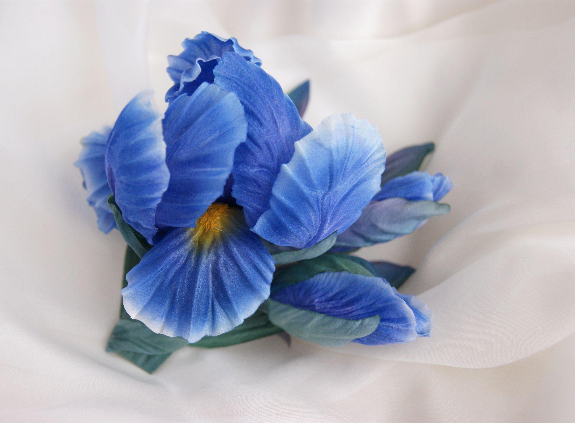 ирис украшения брошь цветыизшелка ручнаяработа