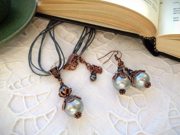 подарок серьги жемчуг украшение кулон гематит