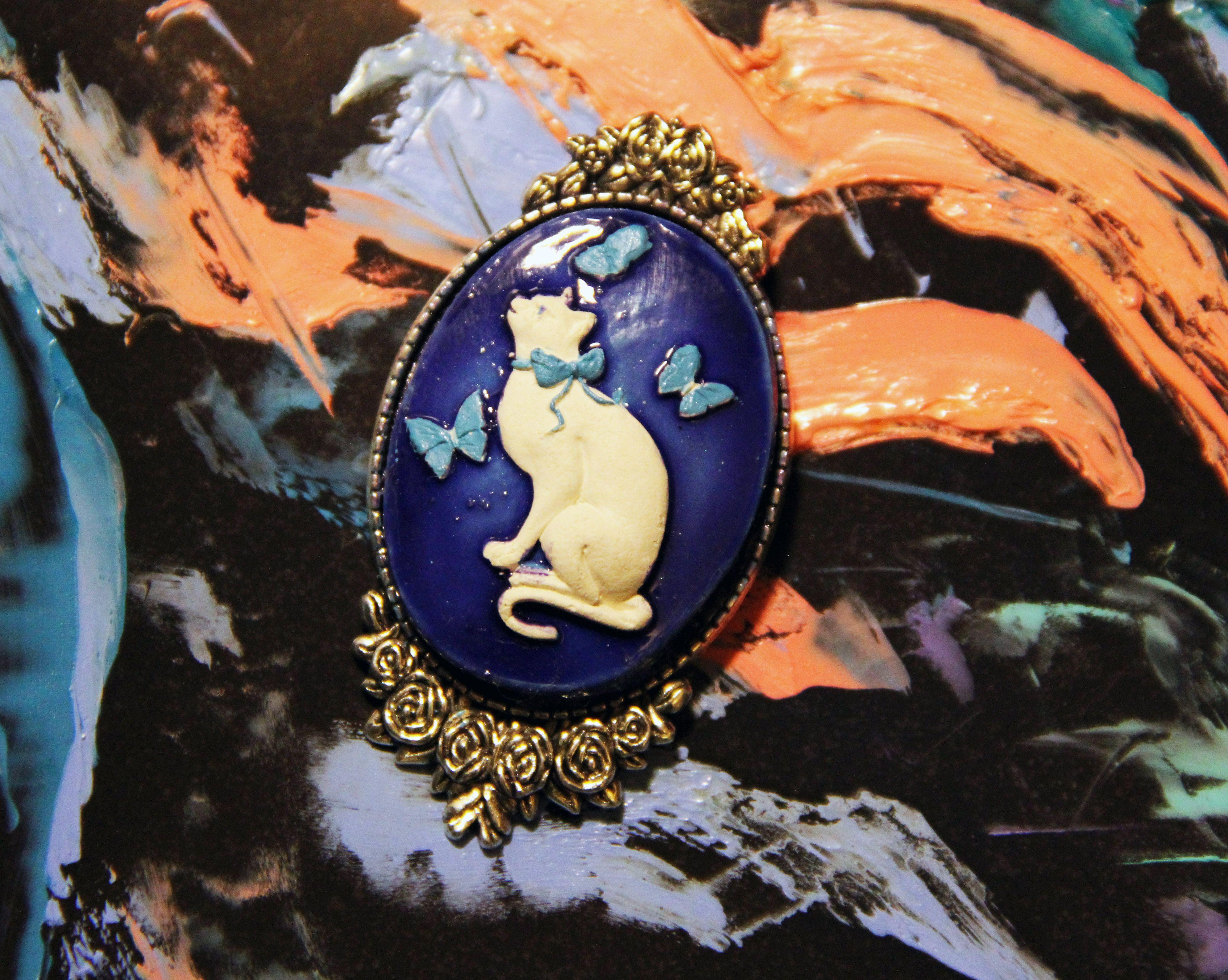 брошка девушки кот кошка красота для украшение ручная изысканное работа эмаль