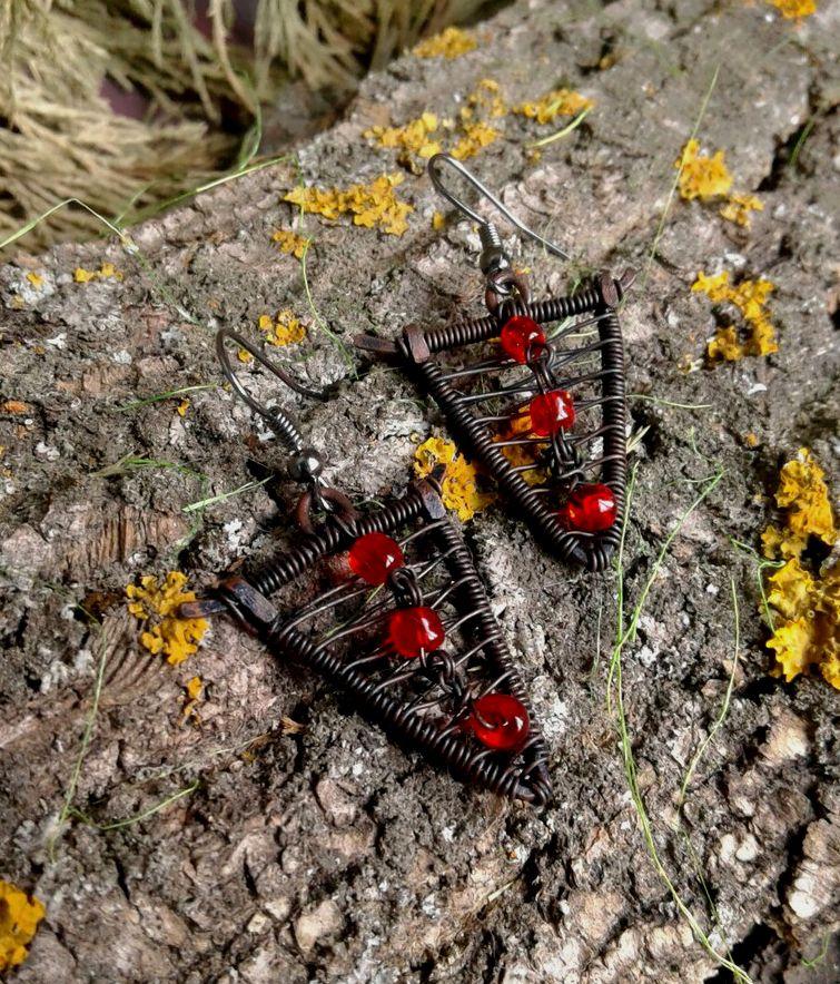 серьги медь wirewrap красный