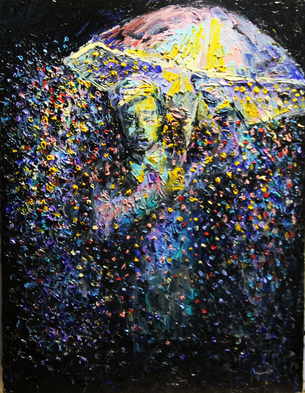 дождь абстракция парк город вечер холст живопись ночь осень мастихин масло пейзаж