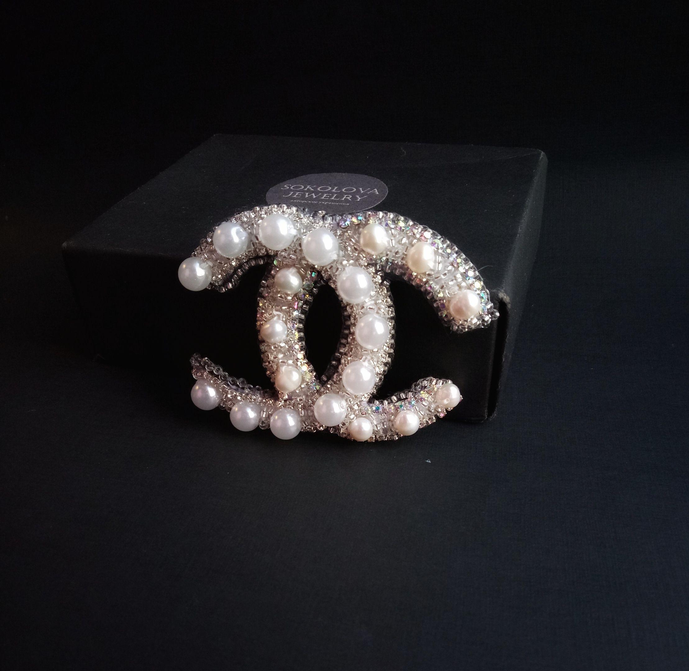 белая брошь шанель brooch работы ручной white chanel