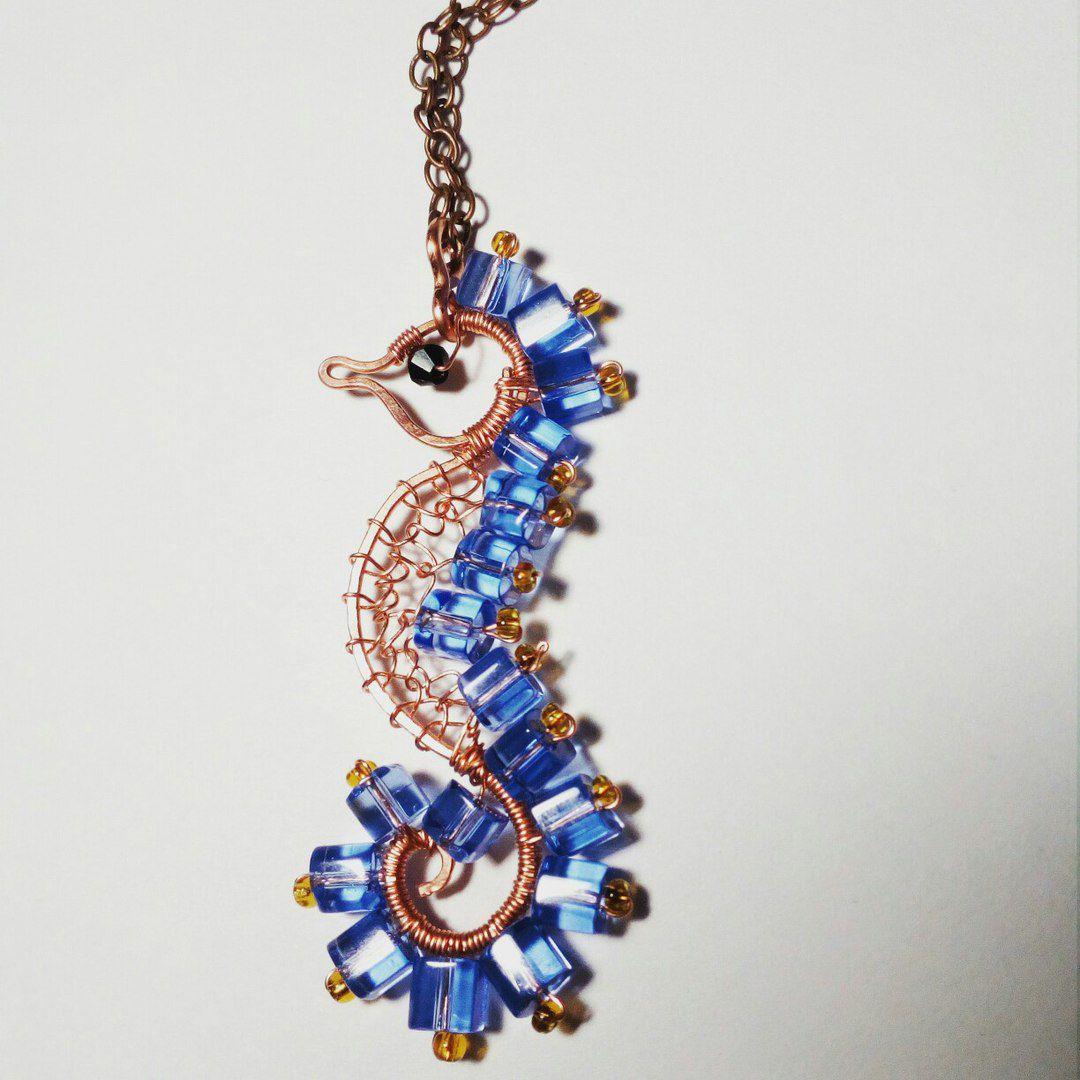 кулон конёк кулоны измеди море голубой морской бижутерия женщине медный девушке подарок