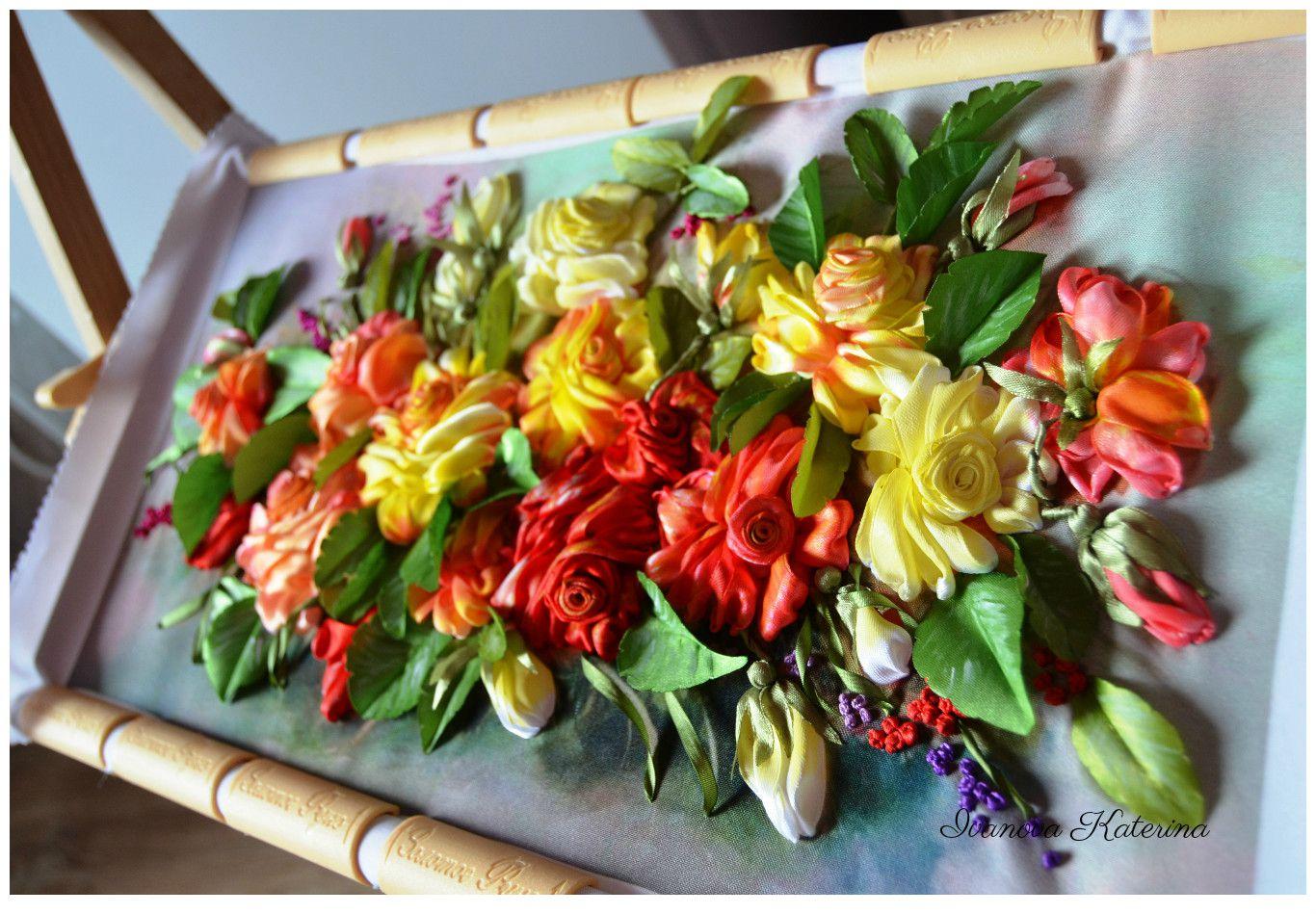 подарок картина юбилей ленты вышивка праздник интерьер розы дом