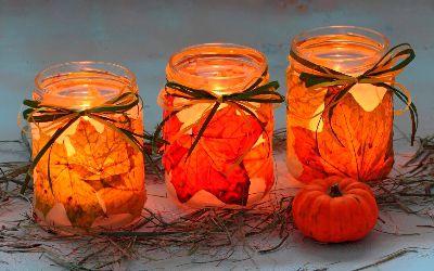 креативнаяидея идея осенниелистья сделайсам декупаж декор креатив интерьер своимируками хендмейд подсвечник свеча осень