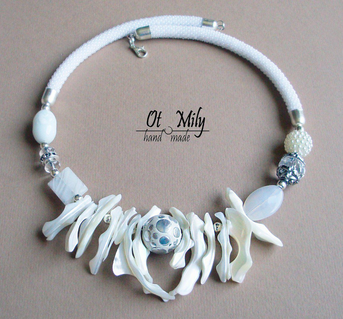 натуральные камни колье перламутр жгут бисер ожерелье