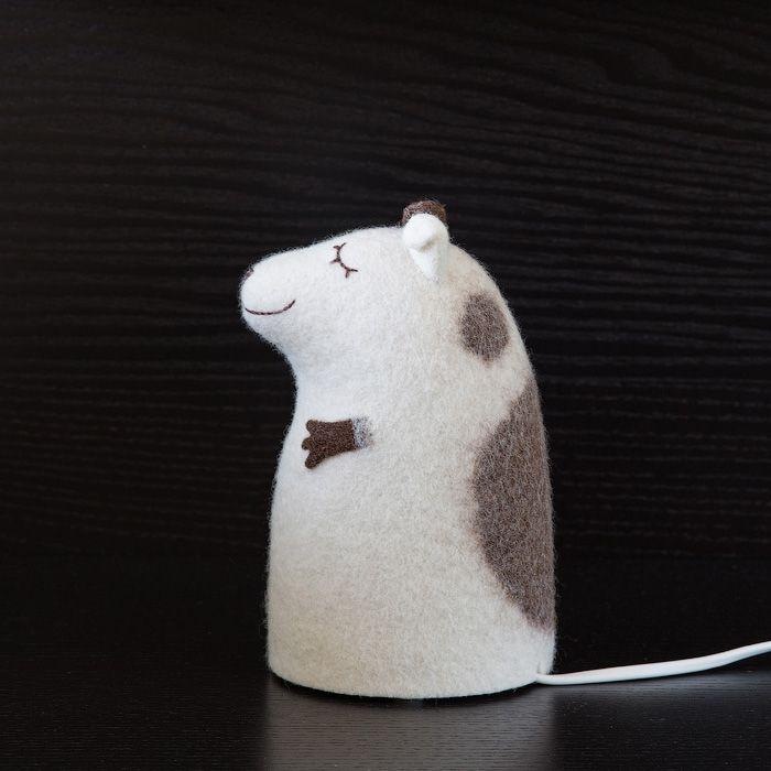 собака коричневый войлок валяный интерьер ночник светильник щенок белый