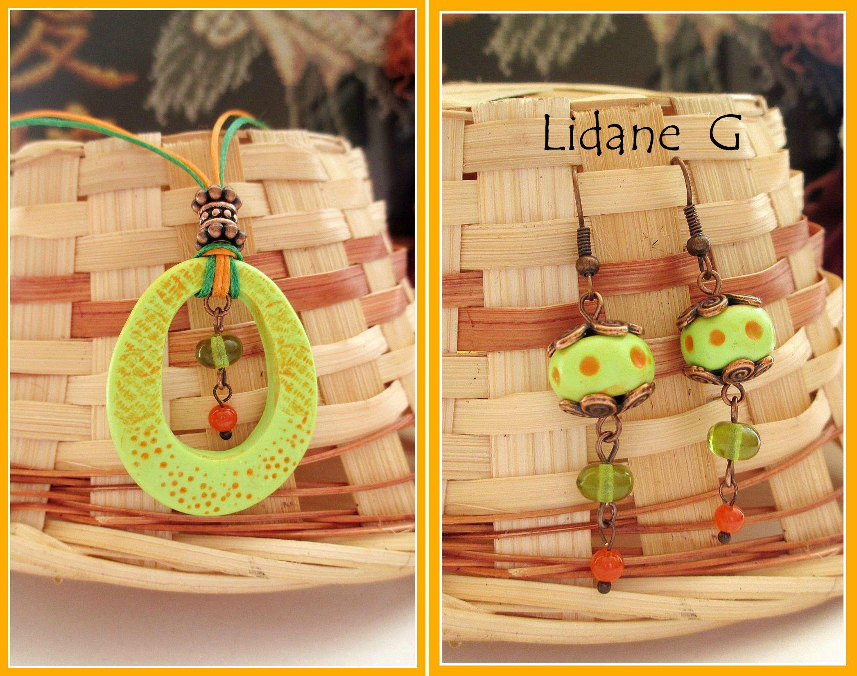 оранжевый украшения серьги комплекты бижутерия ручнаяработа кулон полимернаяглина зеленый лето весна