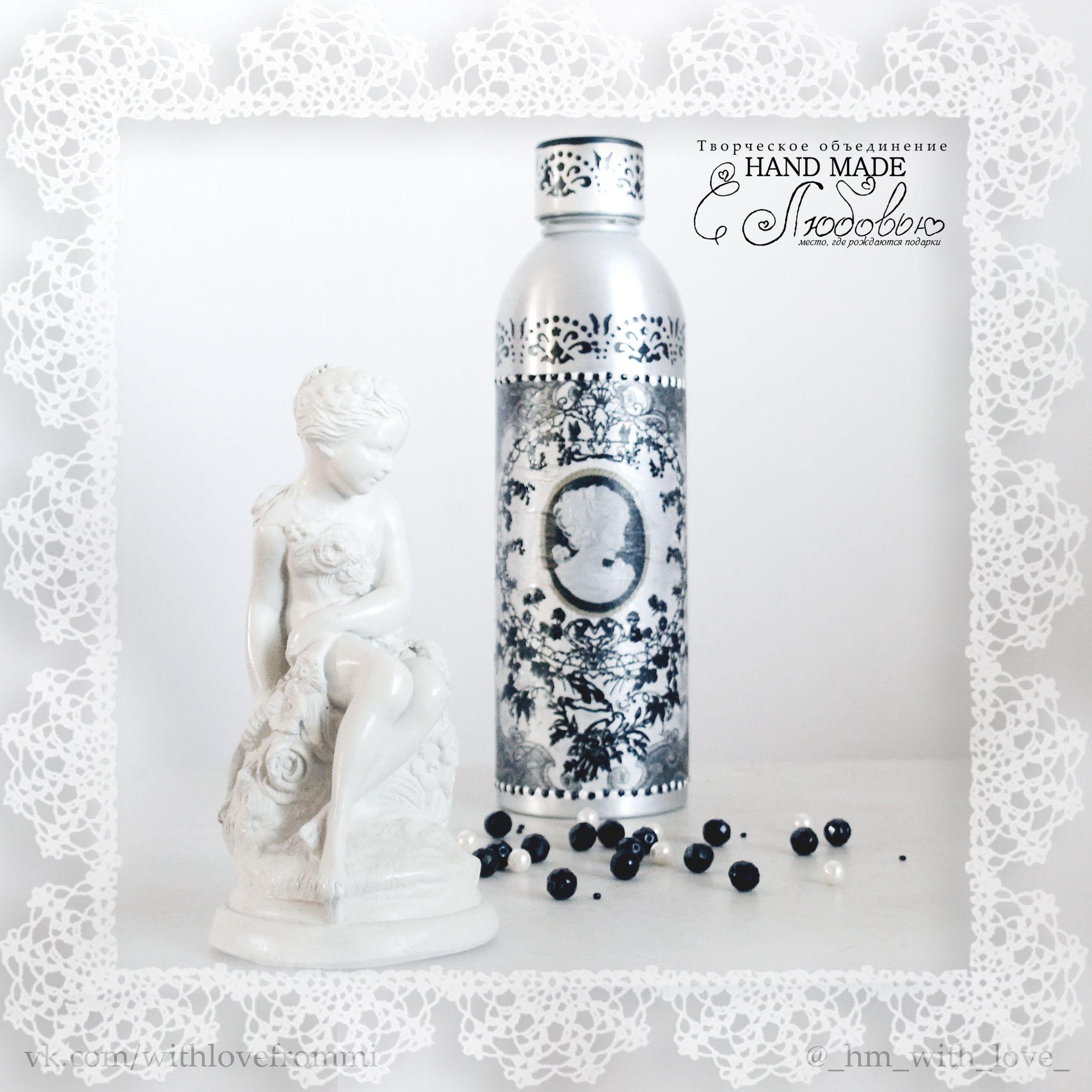 ваза декупаж бутылка декор