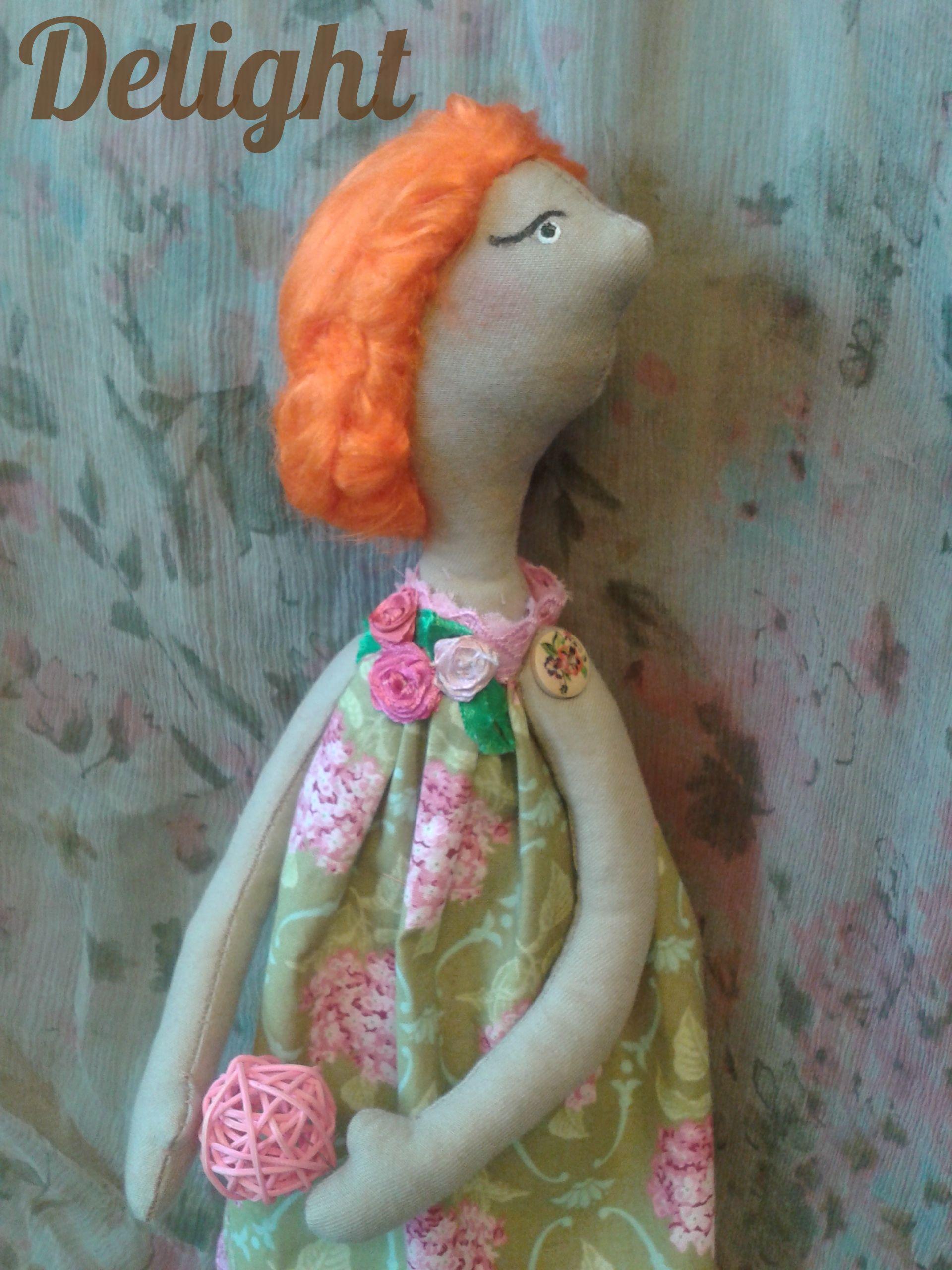 delight куклавстилетильда подарок кукла рыжая интерьер тильда оранжевый