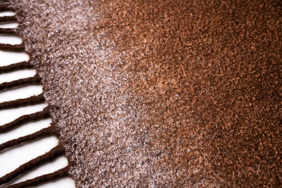 коричневый войлок кистями с блестящий осенний валяный зимний женский шарф