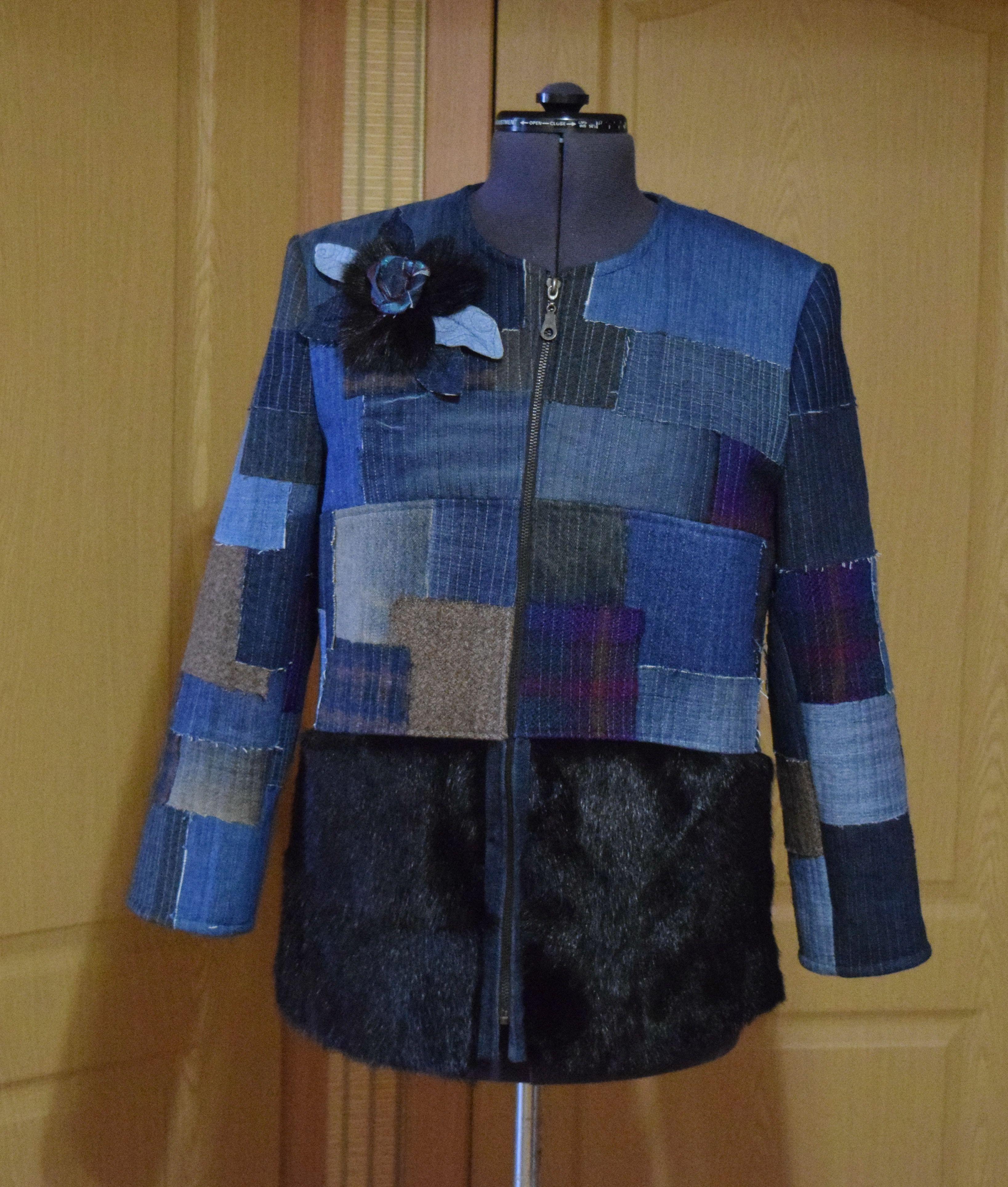 бохо мода джинс купить креатив стиль женский hendmade одежда жакет мехнорки стёжка лоскутноешитьё своимируками
