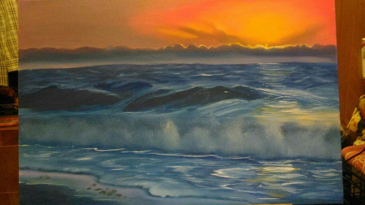 море картина масло