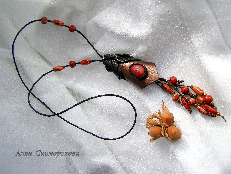 колье ручнаяработа кожа подарок украшение стиль аксессуары handmade украшения эко дляженщины бижутерия изкожи