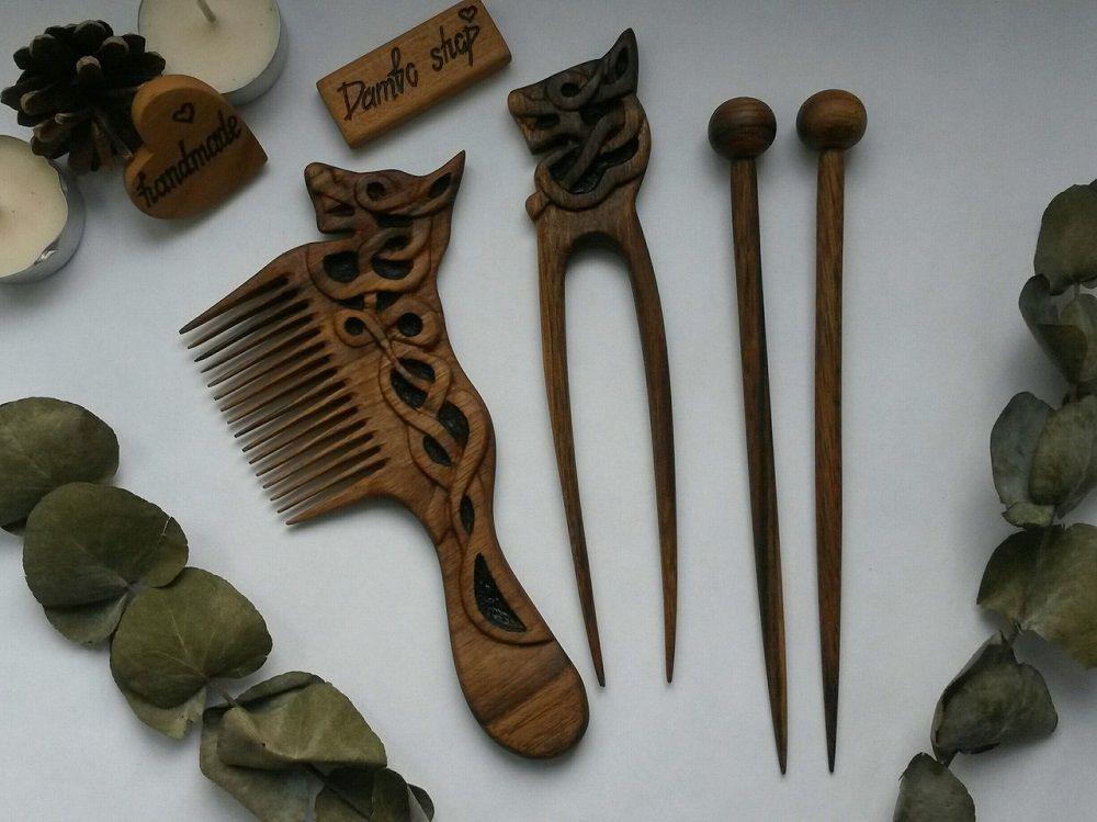 расческа маме девушке ореховая деревянная украшения волос для ручная заколка шпилька работа подарок женщине резьба