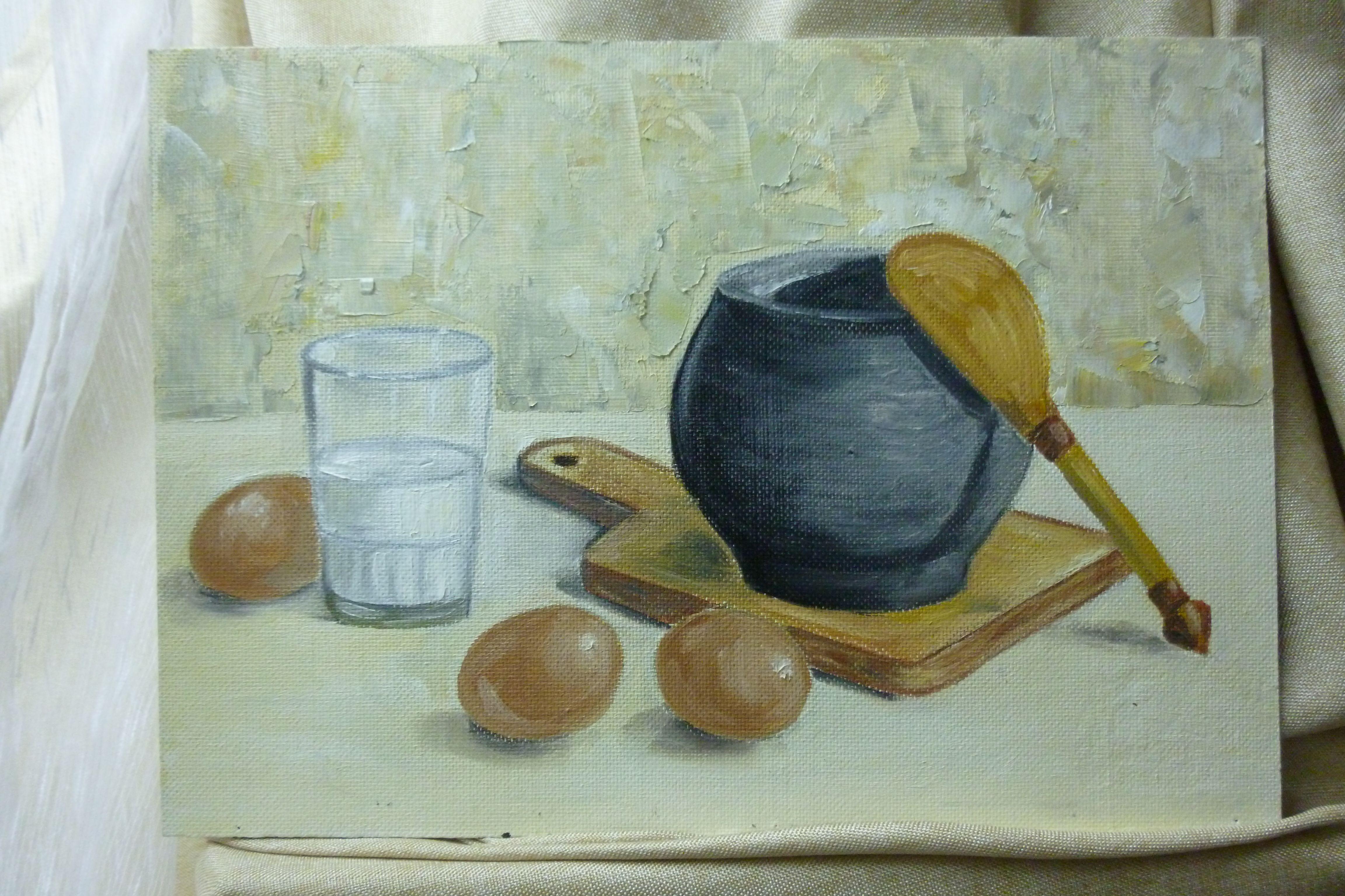 картинамаслом натюрморт стакан молоко яйца теплый чугунок ложка свет