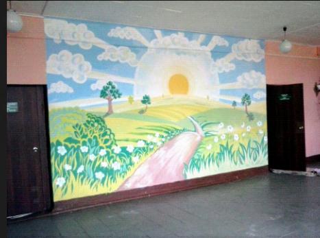 школа рисунок мультфильмов детскийсад дети стена герои