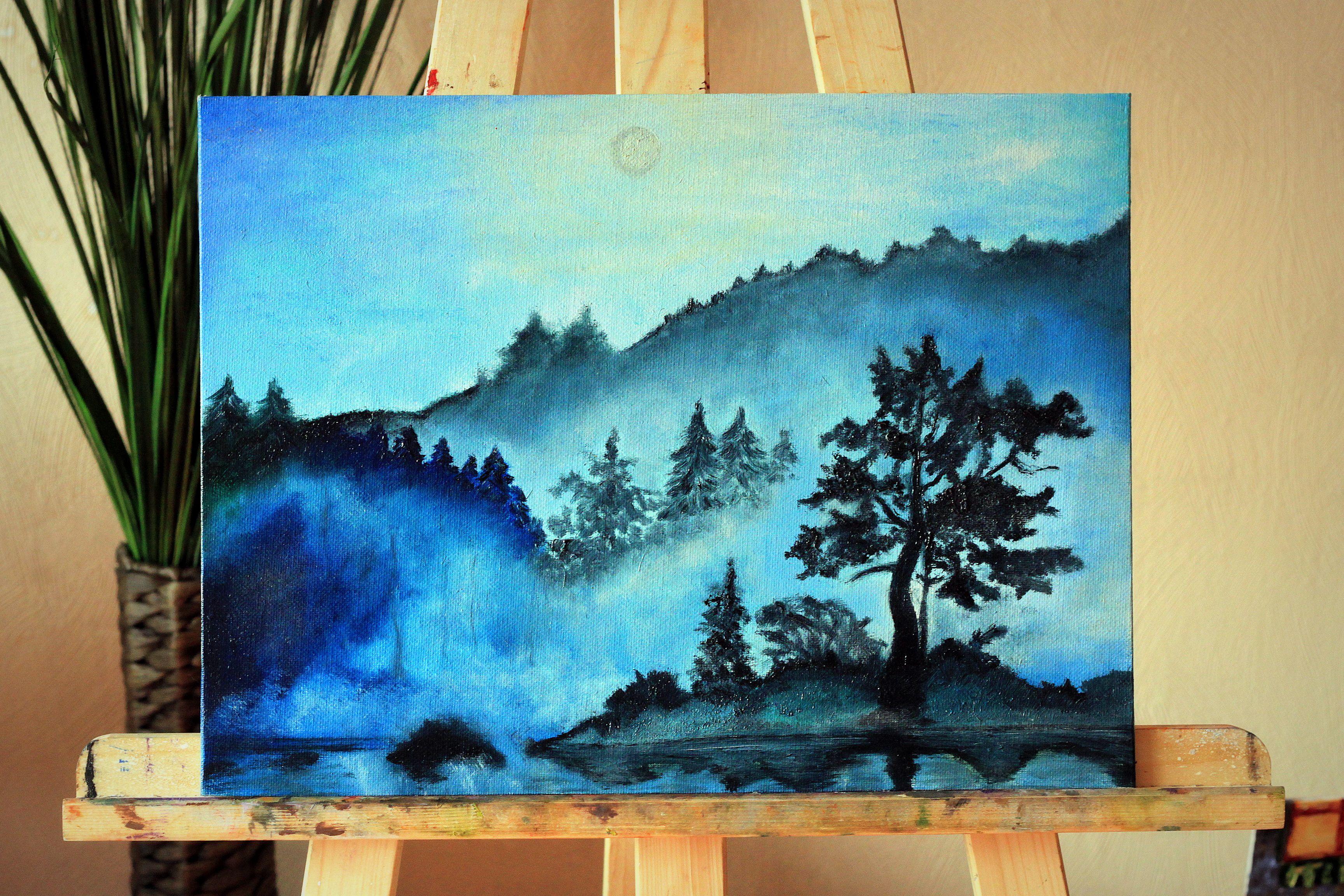 холст масло вода горы туман лес