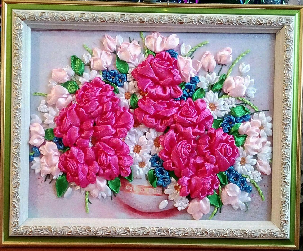атласныеленты цветы подарок