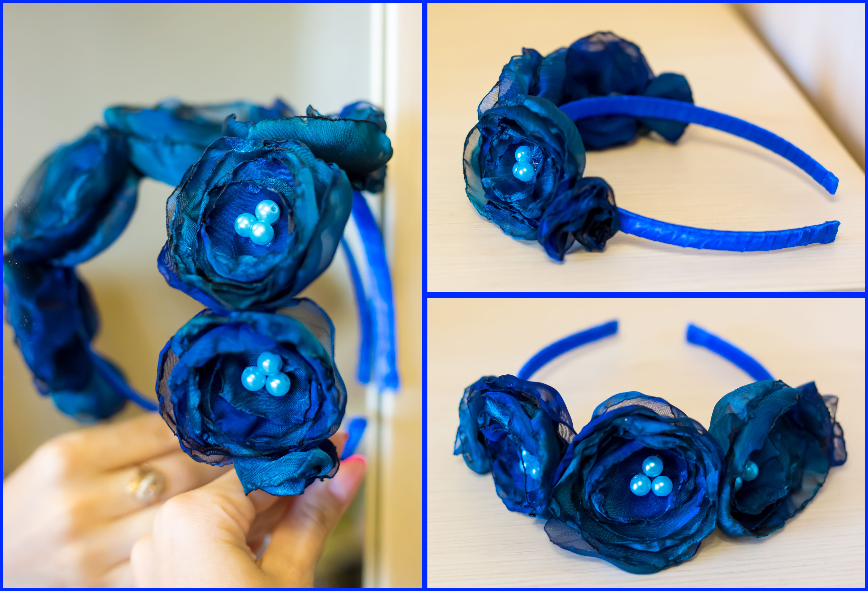 обруч красивый шифон ободок синий цветы атлас