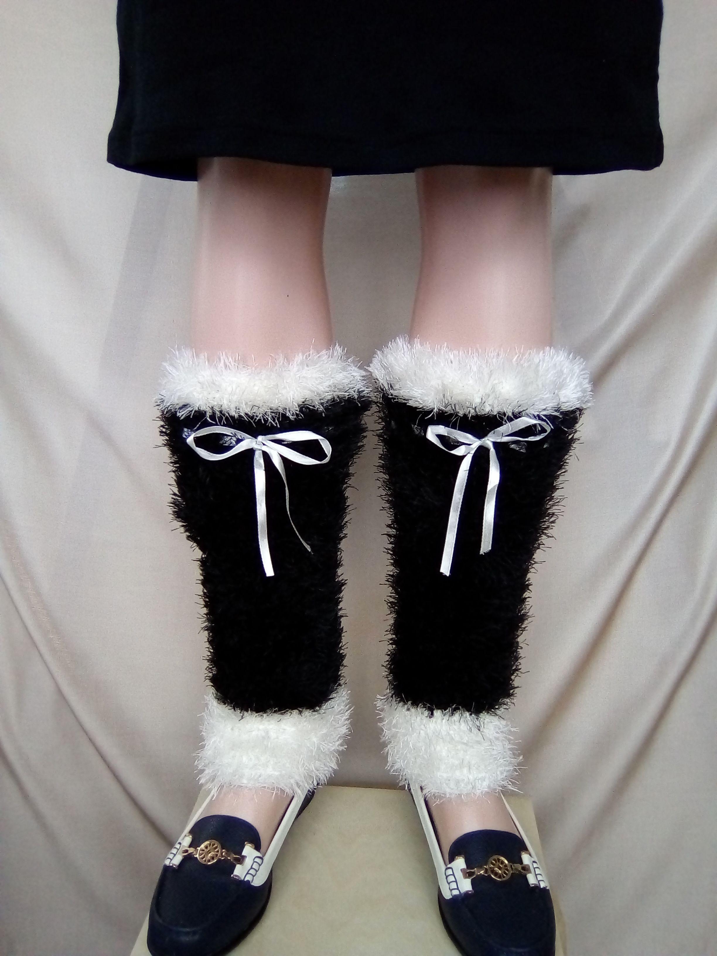 крючком работы ручной теплые черно пушистые гетры женские черные купить белые вязаные
