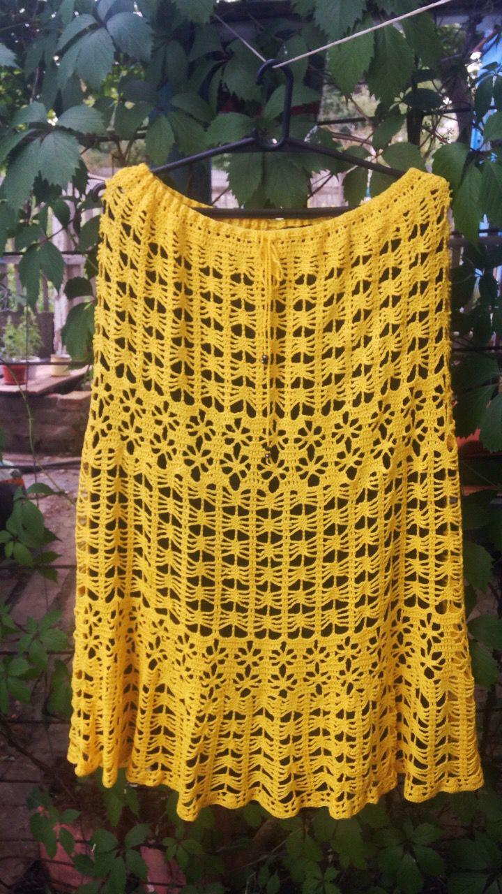 юбка крючком большой лето желтый размер бохо