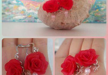 Сережки с розами
