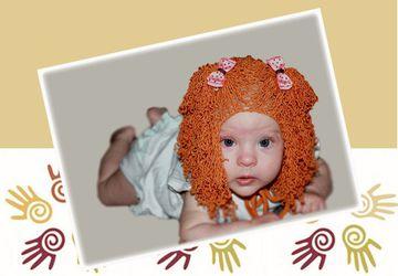 Вязаная шапочка-парик (кудрявая)