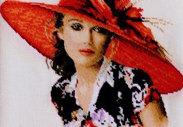 Вышивка девушка в шляпе Виктория