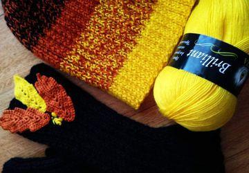 шапочка и митенки Осенний каприз