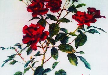 Вышитые красные розы (RED ROSE) на белом льне
