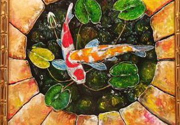 Картина маслом «Карпы кои»