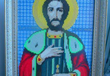 Вышитая счетным крестиком икона Александра Невского