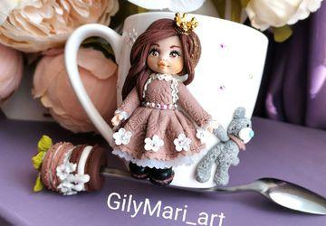 """Кружка+ чайная ложечка с декором из полимерной глины """"Принцесса с мишкой"""""""