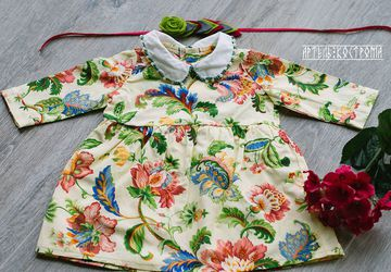 Платье для малышки с вышитым воротничком 62-92