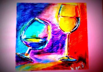 картина ,бокал вина