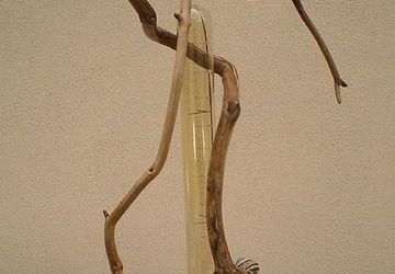 Деревянный LED светильник настольный из элементов вяза и яблони, ручная работа