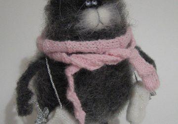 Вязанный кот зимний