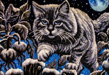 Картина из бисера- Лунный кот