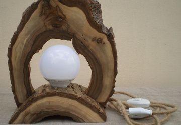 Деревянный LED настольный светильник из ореха, ручная работа