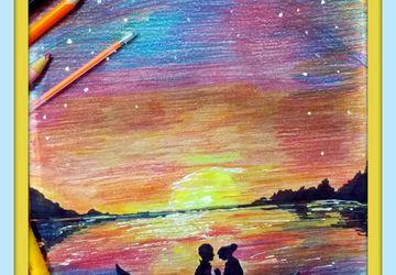 двое в лодке при луне,картина