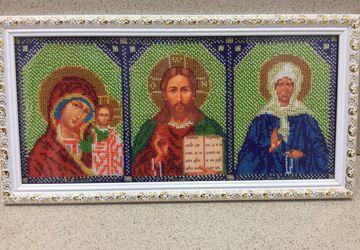Триптих Казанская Богородица Христос Спаситель Матрона Московская