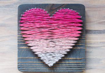 Панно Сердце в стиле StringArt