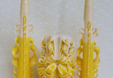 Набор резных свечей желтый