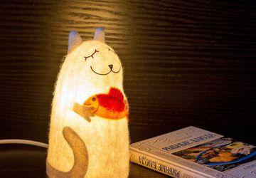 """Войлочный светильник """"Кот, приносящий удачу"""""""
