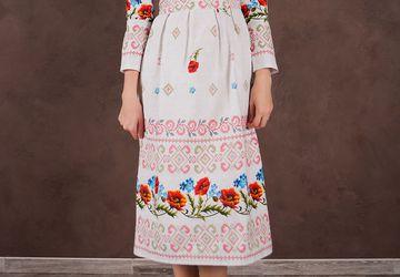 """Женское платье из рогожки """"Маки"""""""