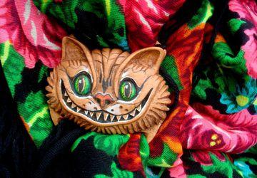 Зажим для платка, волшебная пуговица, брошь, пряжка Чеширский кот