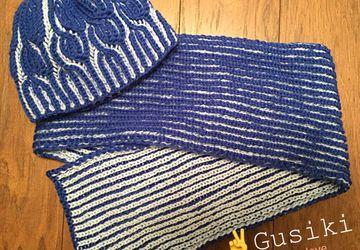 Шапочка и шарфик для мальчика 7-10 лет