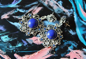 Цветочные серьги Синяя бирюза