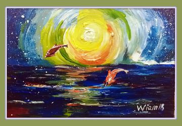 картина,дельфины